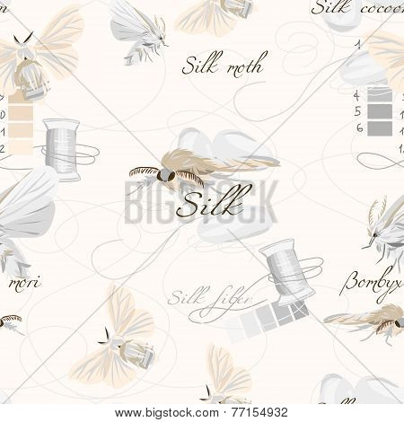 Silk cultivation white seamless vector pattern