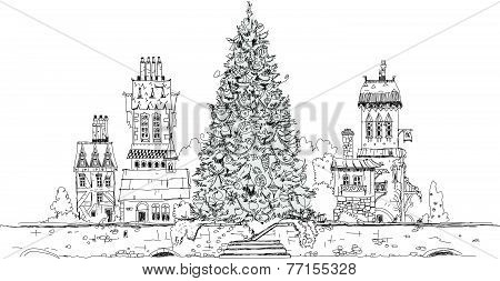 Christmas tree in the city, sketch collection
