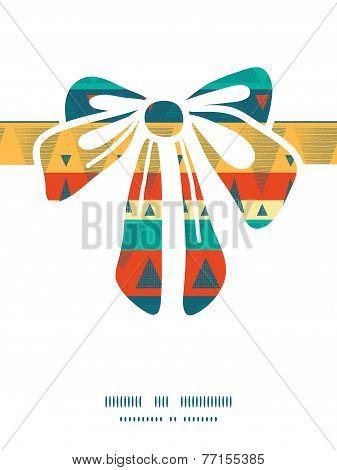 Vector vibrant ikat stripes gift bow silhouette pattern frame