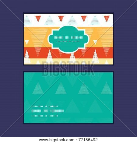 Vector vibrant ikat stripes horizontal frame pattern business cards set