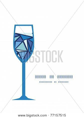 Vector abstract ice chrystals wine glass silhouette pattern frame