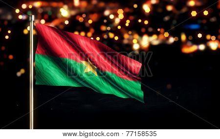 Burkina Faso National Flag City Light Night Bokeh Background 3D
