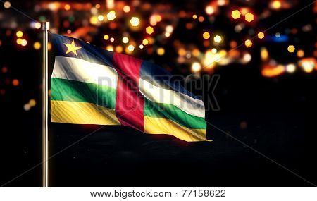 Central African Republic National Flag City Light Night Bokeh Background 3D