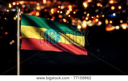 Ethiopia National Flag City Light Night Bokeh Background 3D
