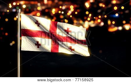 Georgia National Flag City Light Night Bokeh Background 3D