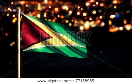 Guyana National Flag City Light Night Bokeh Background 3D