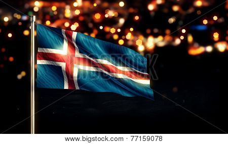 Iceland National Flag City Light Night Bokeh Background 3D