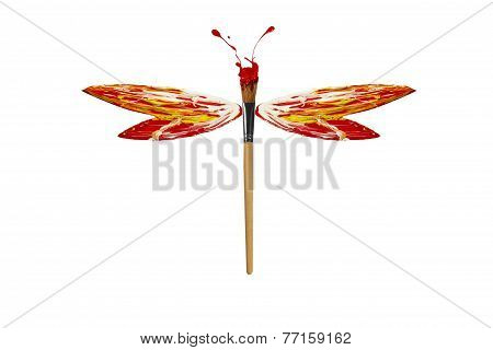 Red White Yellow Paint Made Dragonfly