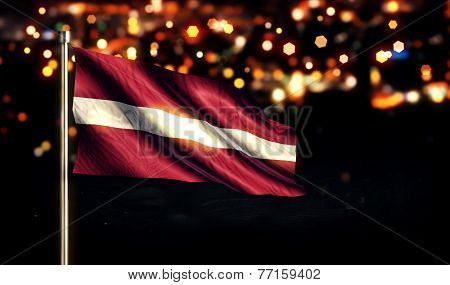 Latvia National Flag City Light Night Bokeh Background 3D