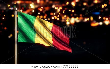 Mali National Flag City Light Night Bokeh Background 3D