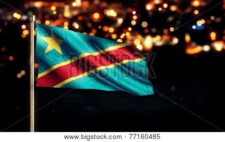 Democratic Republic Of The Congo National Flag City Light Night Bokeh Background 3D