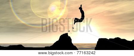 Concept or conceptual young man or businessman silhouette jump happy from cliff over water gap sunset or sunrise sky background banner