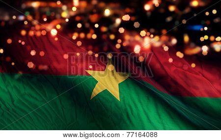 Burkina Faso National Flag Light Night Bokeh Abstract Background