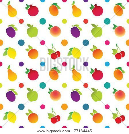 Fruit icons pattern with apple, apricot, cherry, lemon, orange, peach, pear, plum, pomegranate. Vector illustration.