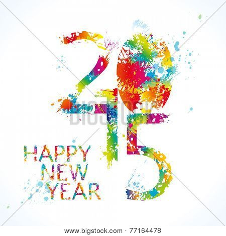 New Year's card 2015 with colorful drops and sprays on a white background. Vector illustration.