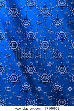 Blue snowflakes on a dark blue wavy gradient background