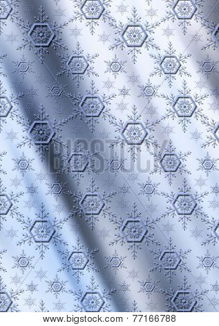 Blue snowflakes on a gray blue wavy gradient background