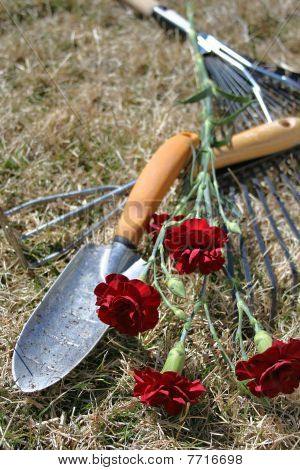 Stock Image Of Garden Tools Over Dry Grass Background