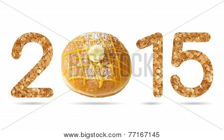 2015 Numeric From Natural Sugar And Donut Topped By Sugar Icing And Lemon Cream
