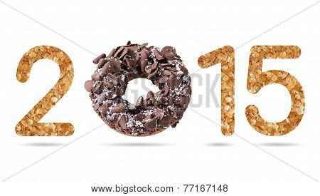 2015 Numeric From Natural Sugar And Donut Topped By Shredded Chocolate