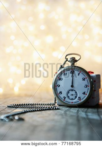 Pocket Watch With Bokeh Background