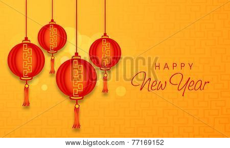 Happy New Year celebrations with traditional red Chinese lamps hanging on sthiny background, can be used as poster, banner or flyer.