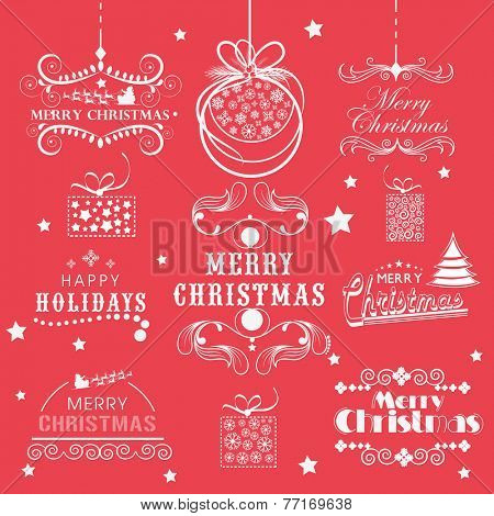 Beautiful typographic and calligraphic collection for Happy New Year 2015 and Merry Christmas celebration.
