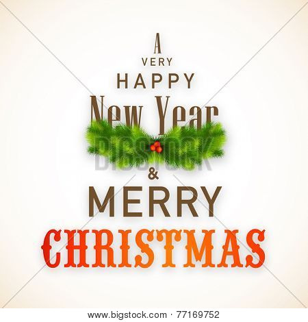 Merry Christmas and Happy New Year 2015 celebrations elegant poster, banner or flyer design with stylish fir tree and mistletoe.