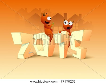 Scary monsters holding lizard with 3D text 2015 for Happy New Year and Merry Christmas celebrations.