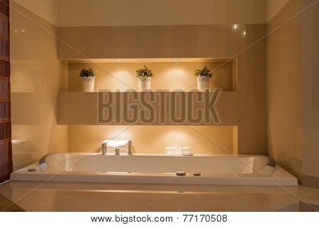 Ceramic Bathtub In Illuminated Bathroom