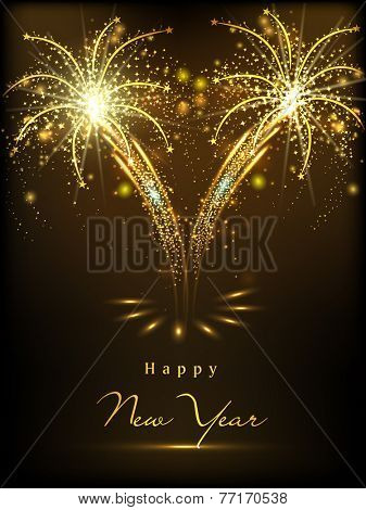 Happy New Year 2015 celebration concept with shiny text on beautiful fireworks in the night.