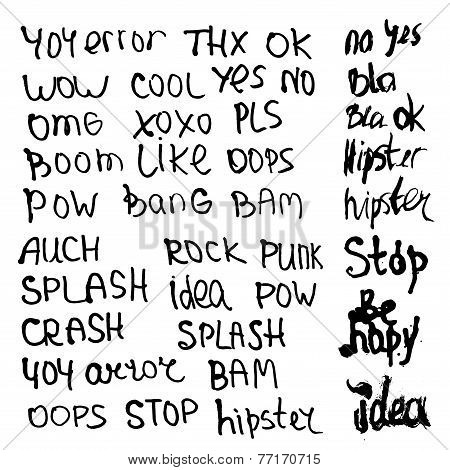 Hand Drawn Set With Short Phrases, Words And Slang On White Background. Vector