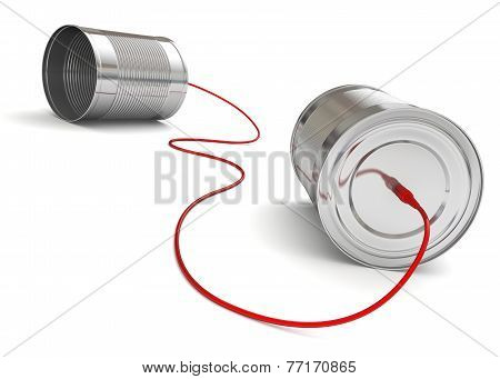 Tin Can Phone with red computer cable