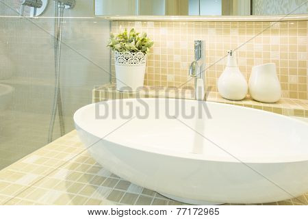 Washbasin In Beige Luxury Toilet