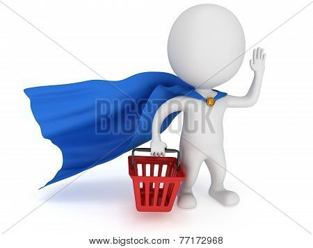 Brave Superhero Merchandiser With Blue Cloak