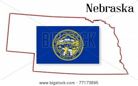 Nebraske State Map And Flag