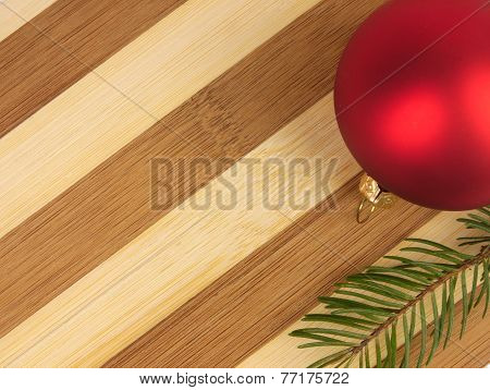 Two-tone Cutting Board, Christmas Ball And Pine Twig.