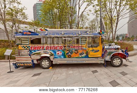 Fancy Bus Jeepney In Ddp Of Seoul, Korea