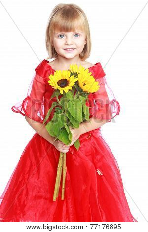 Little girl in a red ball gown.