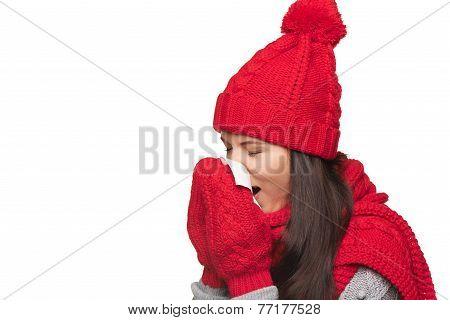 Winter woman ill