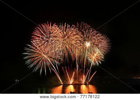 PATTAYA, THAILAND - NOVEMBER 2014 : The Annual Pattaya International Fireworks Competition for 2014 on 29 November 2014 in Pattaya City, Chonburi province, Thailand.
