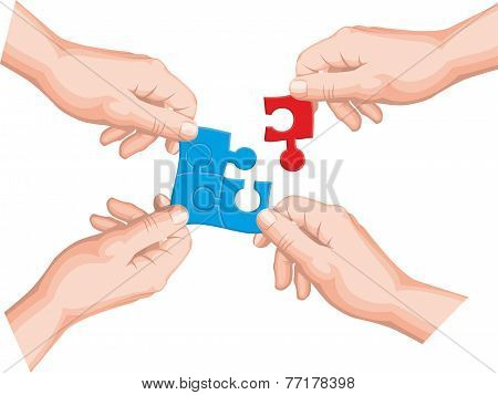 Four hands connect a puzzle pieces