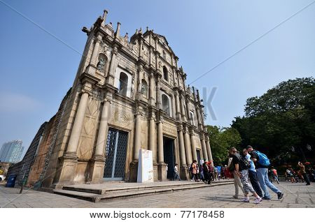 Tourists Visit The Ruined Church Of St Paul In Macau, China