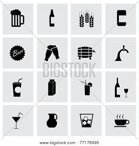 Vector black beverages icons set