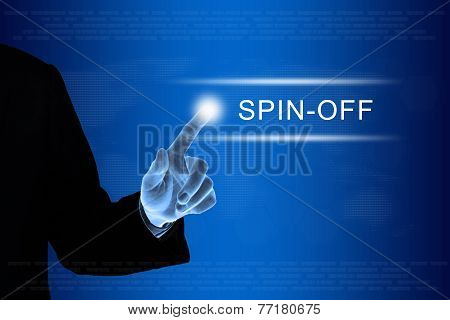 Business Hand Clicking Spin Off Button On Touch Screen