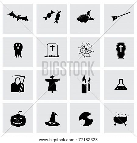 Vector black halloween icons set