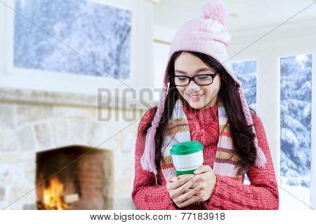 Girl Enjoy Hot Drink At Home