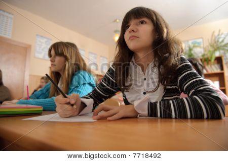 Attentive Schoolgirl