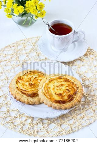 Cookies With Cottage Cheese On A White Plate