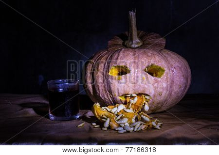 Haunted Carved Pumpkins For Halloween With Liqueur